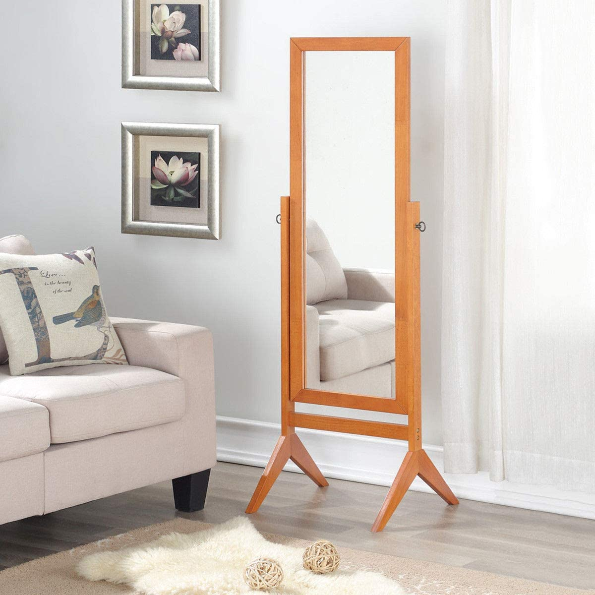 Walnut 100/% Solid Oak Wood Frame Rustic Rotary Swivel Mirrorred Stand Rectangular Mirrors Free Standing Home Floor Dressing Mirror Giantex Bedroom Wooden Floor Mirror Full Length Cheval