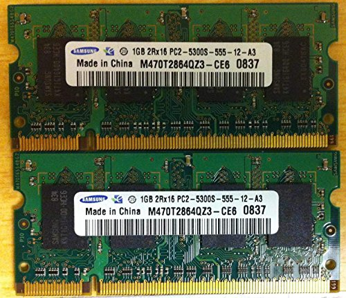 2GB Kit Apple iMac, MacBook, MacBook Pro Memory Upgrade 2 x 1GB (MA346G/A) DDR2 PC2-5300 SODIMMs Samsung Original ()