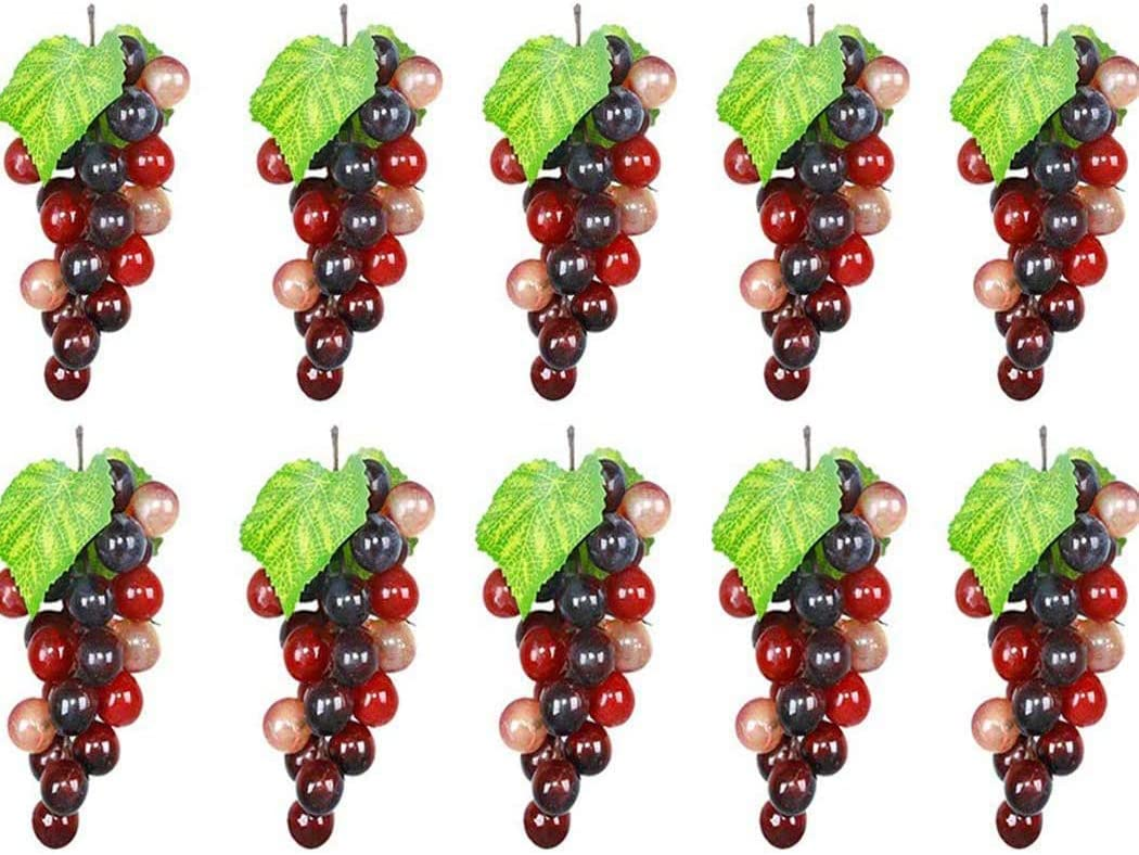 Outgeek Artificial Grapes, 10 Pack Artificial Grapes Mini Grape Clusters Rubber Fake Grape Bundles Decorative Grapes Hanging Ornaments for Vintage Wedding Favor Fruit Wine Decor Faux Fruit Props