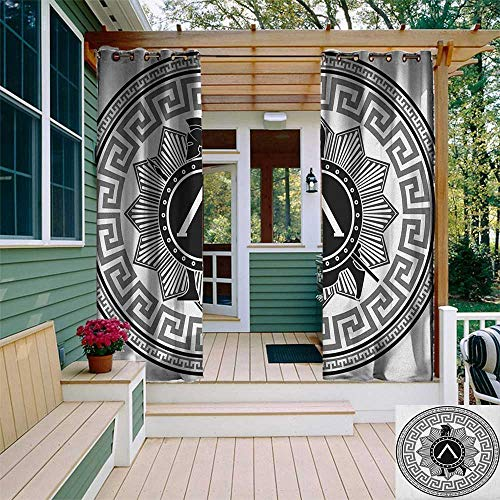 (leinuoyi Toga Party, Outdoor Curtain Ties, Label with Greek Pattern Spartan Figures Silhouette Retro Icon Design, Outdoor Privacy Porch Curtains W108 x L96 Inch Grey Black White )