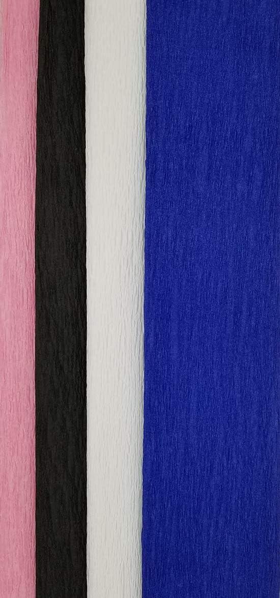 7.5 x 20 White Black Blue 4 pcs: Pink Darice Crepe Paper Rolls