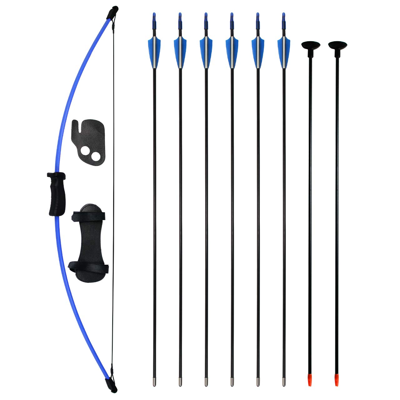 SinoArt Bow and Arrow Set for Teens Outdoor Sports Game Hunting Gift Archery Bow Set with 8 Arrows 16 Lb (Blue)
