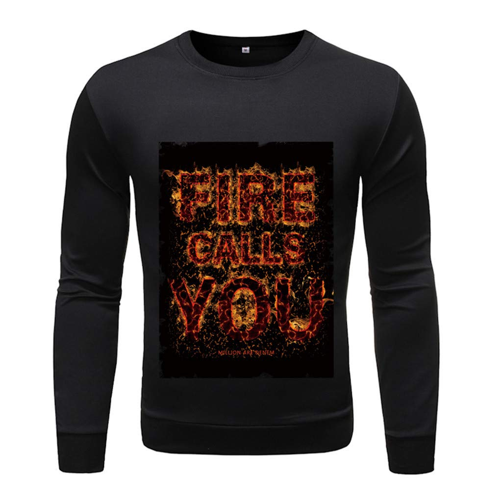 Fall Fashion Patterned Long Sleeve Casual Slim Fit Sweater Pullover Top T-Shirt Shirt for Men