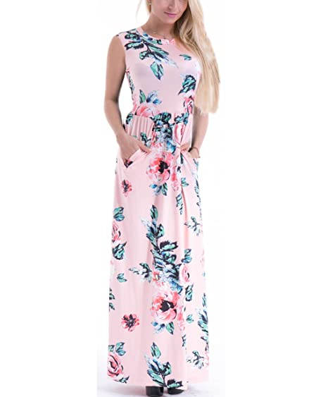 73c0ee44b156 Image Unavailable. Image not available for. Color: GABREBI Women's  Sleeveless Pocket Maxi Dress Vintage Floral ...