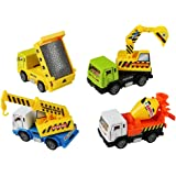 Pull Back Vehicle,FajiabaoCar Toys Die-Cast Model Vehicles Construction Team Pull Back Dump Truck Mini Diggers Toy for Kids 4 PCS