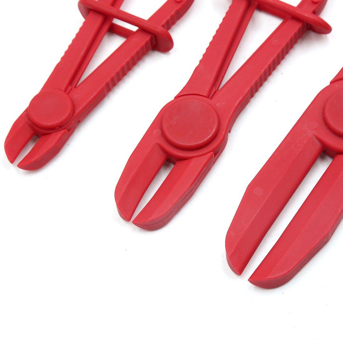 Plastik Flexible Bremse Brennstoff Wasserlinie Schlauch Klemmen Zange rot DE de sourcingmap/® 3Stk