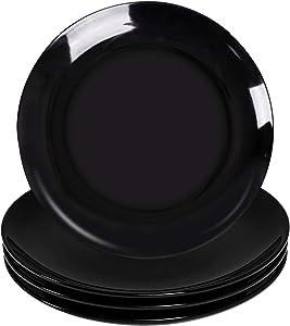 Dinner Plates Set- Delling 10in Black Dinnerware Plate -Large Salad Dish-Round Kitchen Ceramic Plate Set for Dinner and Salad, Restaurant, Family Party-Serving Platter Set of 4