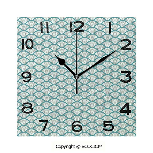 SCOCICI 8 inch Square Clock Narrow Striped Conceptual Sea Waves Pattern Circular Rounded Rippled Swirled Unique Wall Clock-for Living Room, Bedroom or Kitchen Use