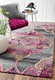 Cheap Handmade Vintage Polyester/Viscose/Wool Medallion Fancy Area Rug