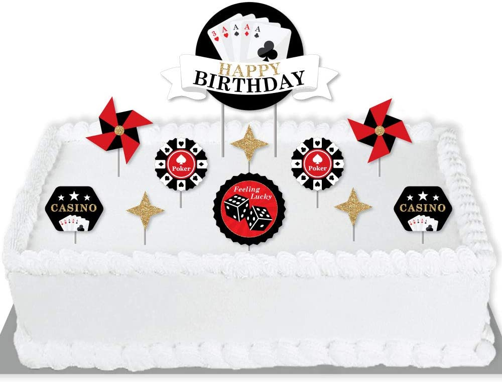 Big Dot of Happiness Las Vegas - Casino Birthday Party Cake Decorating Kit - Happy Birthday Cake Topper Set - 11 Pieces