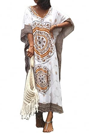 65f94128c3953 Melory Newest Arrival Style Women's Sexy V Neck Ethnic/Aztec Print Kaftan  Maxi Dress Beach Dress Long Cover Up at Amazon Women's Clothing store: