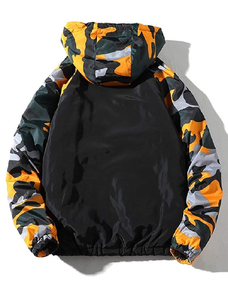 FLCH+YIGE Mens Loose Fit Fashion Quilted Camo Hooded Plus Size Down Jacket Coat