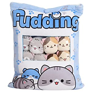 Cute Plush Pillow Throw Pillow Removable Stuffed Animal Toys Creative Gifts for Girls (Kitten-Blue)