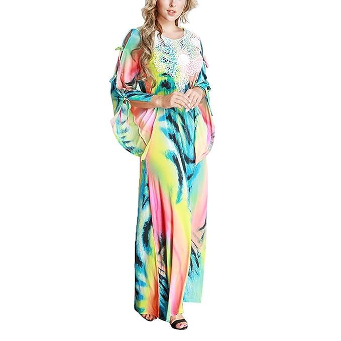 quality design 867fc 007c4 OULII Vestito lungo donna con manico lungo colorati per ...