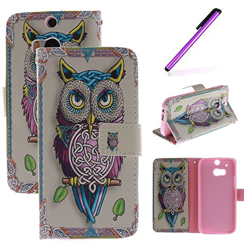 HTC One M8 Case,LEECOCO Fancy Color Print Floral Pattern Wallet Case with Card / Cash Slots [Kickstand] Shockproof PU Leather Folio Flip Slim Protective Case Cover for HTC One M8 Strap Eagle TX (Htc One M8 Wallet Case Strap)