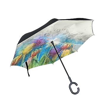 BENNIGIRY - Paraguas inverso plegable de doble capa con diseño de tulipanes de acuarela, resistente