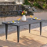 Domina Outdoor 75″ Grey Wicker Rectangular Dining Table