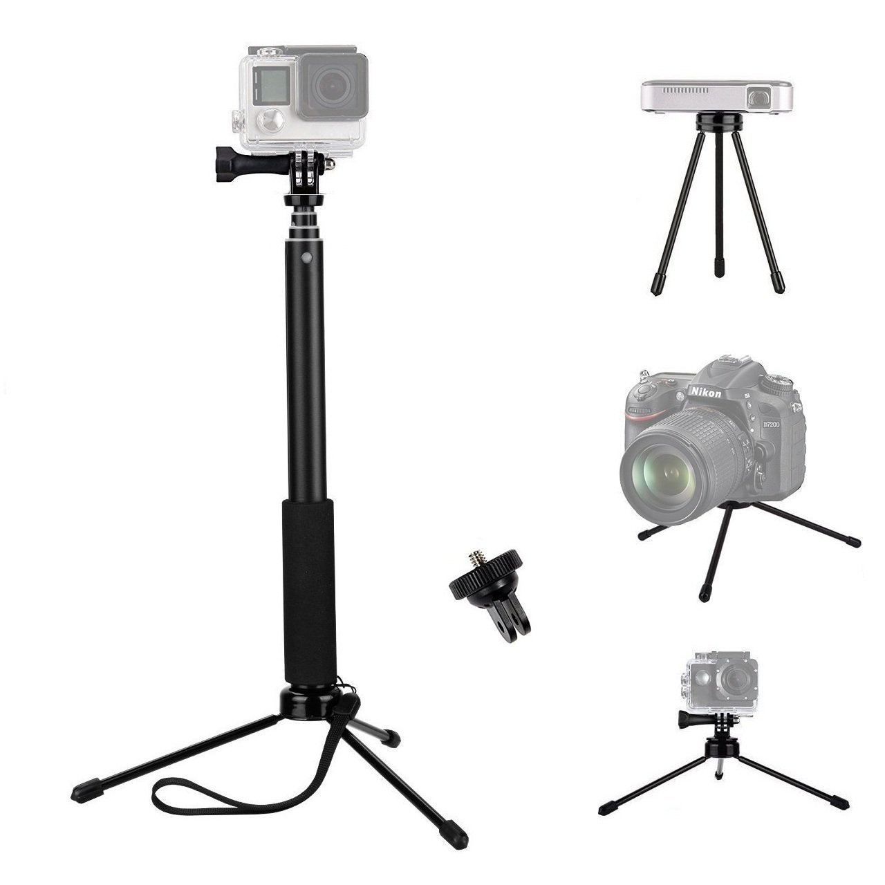 VVHOOY 37 inch Extendable Selfie Stick with Universal Mini Tripod Stand and Adapter for Gopro Hero 6/5/AKASO EK7000/Brave 4/APEMAN/Pictek/Bopower/Vtin/ODRVM Sports Action Camera and More
