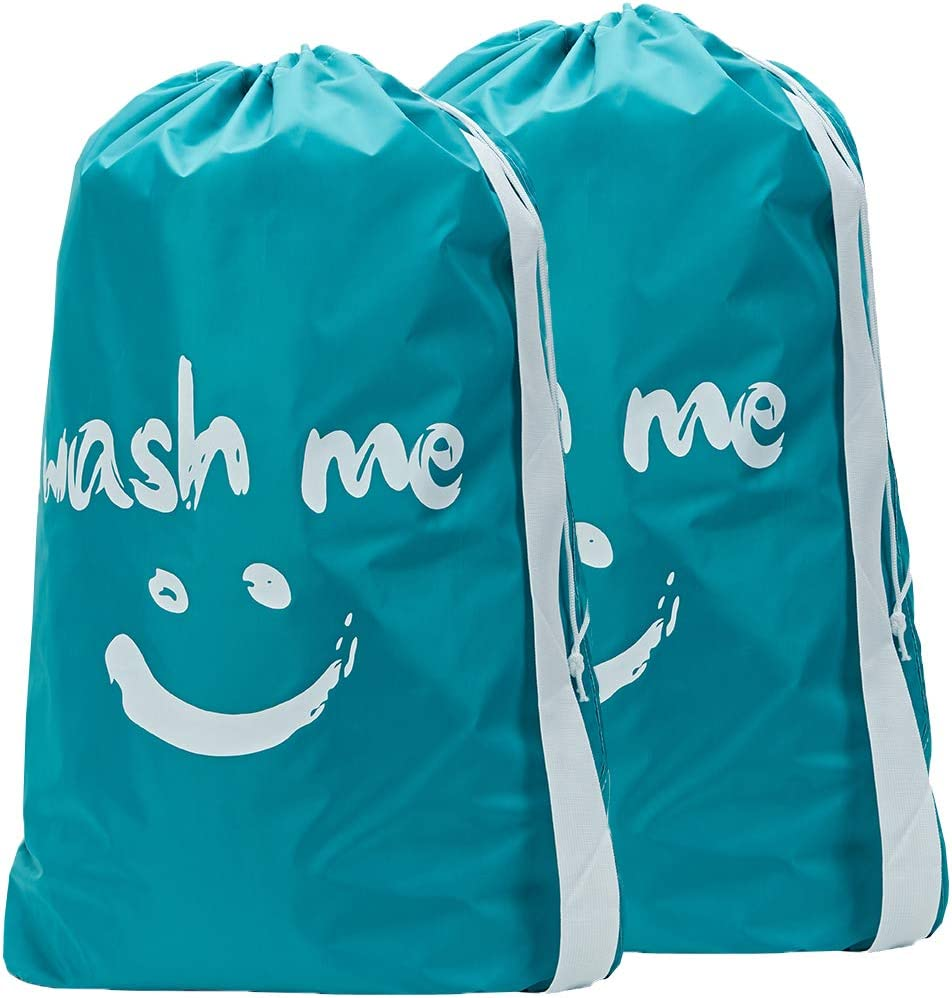 HOMEST 2 Pack Travel Laundry Bag with Strap, 28 x 40 Inches Wash Me Drawstring Dirty Clothes Bag, Large Hamper Liner, Rip-Stop Nylon, Machine Washable, Sky Blue