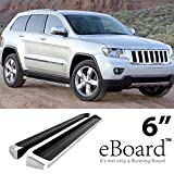 """eBoard Running Boards Aluminum 6"""" For 2011-2016 Jeep Grand Cherokee (Excl. Diesel Model) Will not fit with OE skirt cladding"""