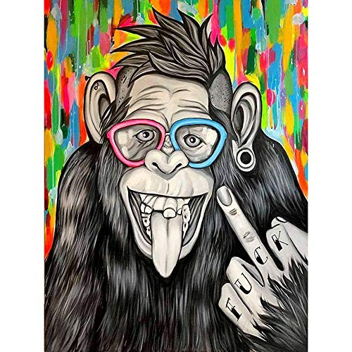 """DIY 5D Diamond Painting Kit for Adult Kids, Full Drill Animal Monkey Embroidery Painting Dotz for Home Wall Decor Painting Arts Craft (12""""x16"""")"""