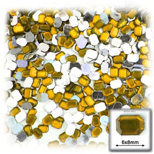 長方形の八角形クラフトアウトレット144アクリルアルミ箔フラットバックラインストーン、6by 8mm、ゴールデンイエローの商品画像