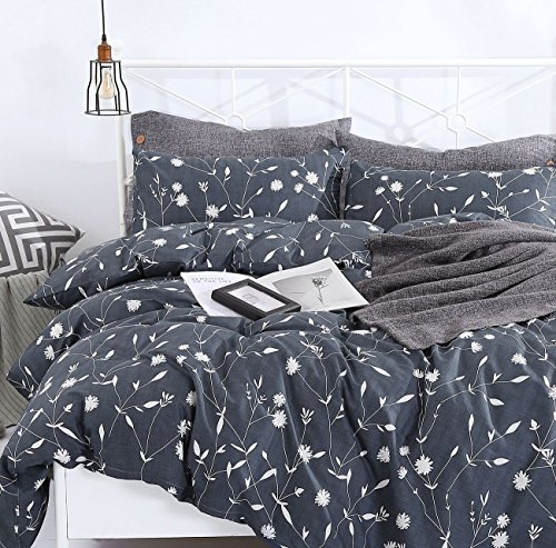 SUSYBAO 3 Pieces Duvet Cover Set 100% Natural Cotton Queen Size White Floral Branch Print Bedding Set 1 Duvet Cover 2 Pillowcases Hotel Quality Soft Breathable Comfortable Durable with Zipper - How Is Much Vogue