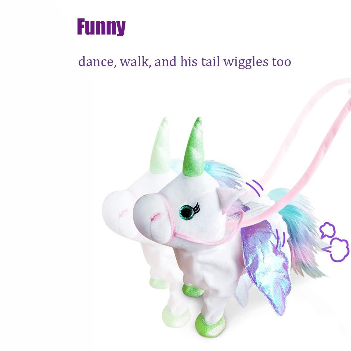qiaoniuniu Electronic Pet Unicorn - Pink Small Pegasus - Stuffed Unicorn ,Singing Walking Musical Cute Plush Toys for Toddlers Girls Boys,Kids & Pets Birthday by qiaoniuniu (Image #6)