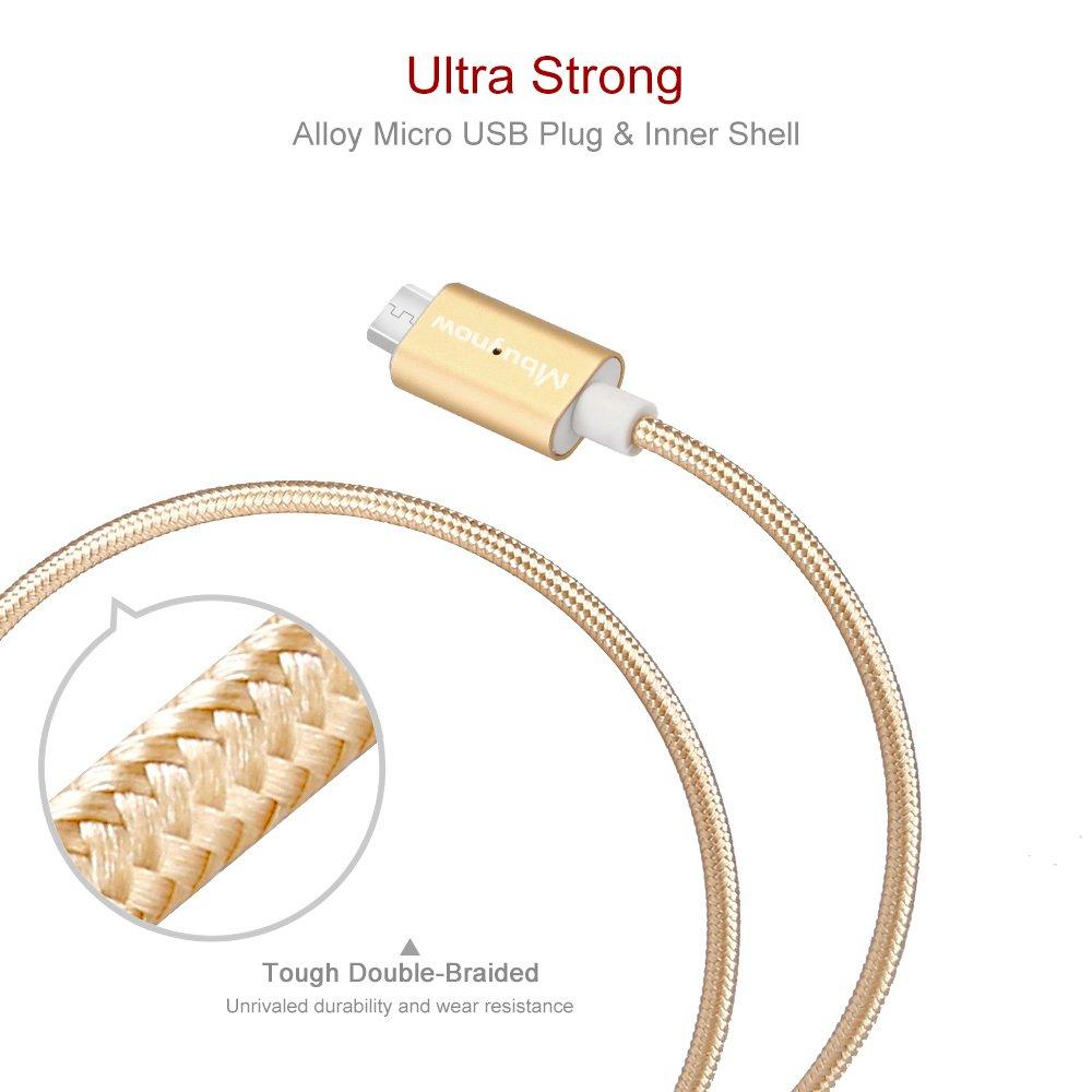 Cable Micro Usb Carga Rápida de Nilón , Mbuynow 3A/ 3.3 pies - Cable USB Micro Magnético USB Cargador Micro USB - Cable USB Sincro y Carga usb para Samsung LG Android Smartphone dispositivos (Oro)