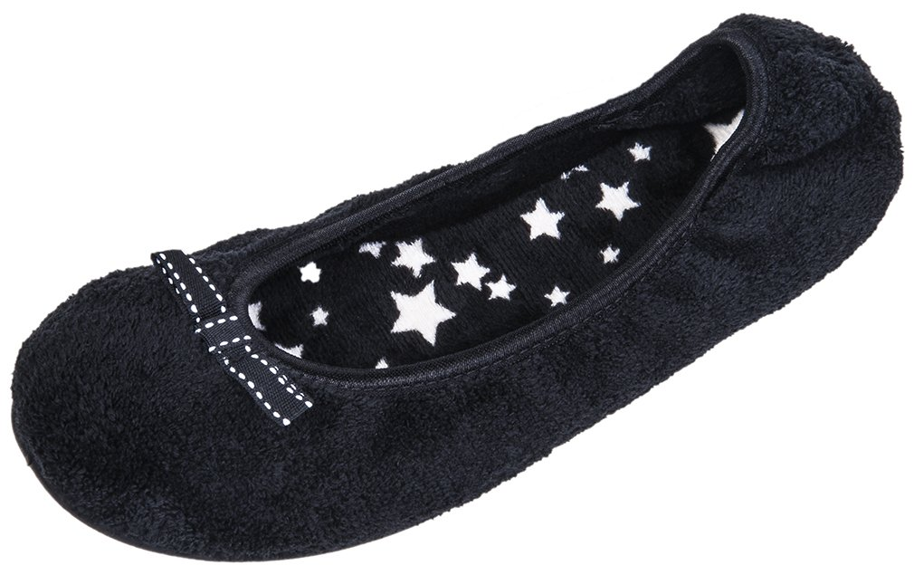 Festooning Women's Foldable Soft Insole Slip on Flats Travel Ballerina Ballet Slippers with Bow Wool Fur Relax Clog Anti-Slip Sole Home Indoor Outdoor Shoes Black starUS7