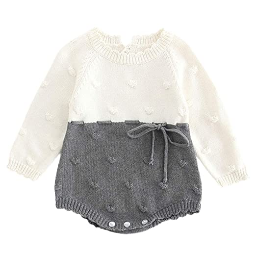 eabb19b1691 Baby Girl Boy Crochet Clothes Long Sleeve Knit Romper Bodysuit Fashion  Coming Home Cold Winter Outfit