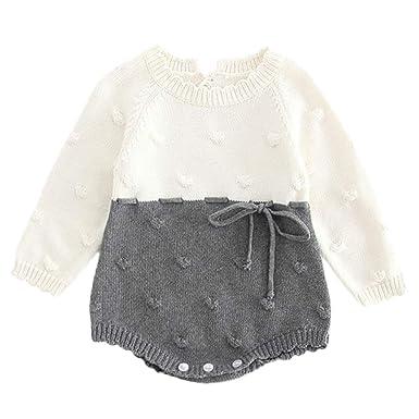 Ensembles de Bébé Filles,Subfamily Romper Pull tricoté Pyjama Fille  Naissance Pas Cher Pullover Survêtement 158b6546575