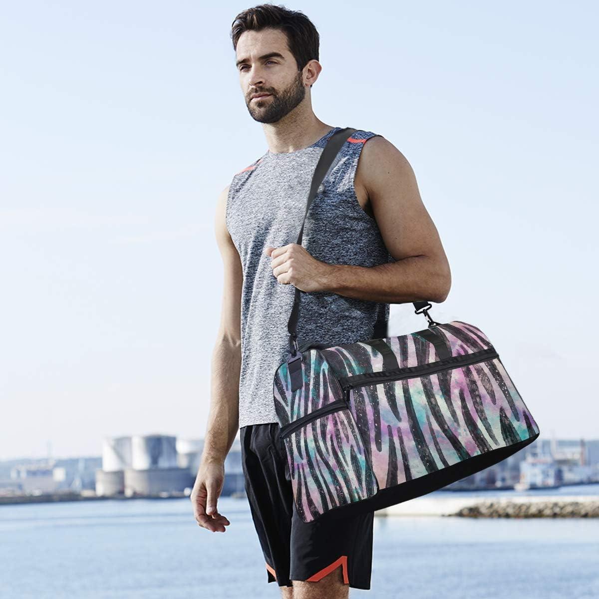 Travel Duffels Black Stripe Texture Duffle Bag Luggage Sports Gym for Women /& Men