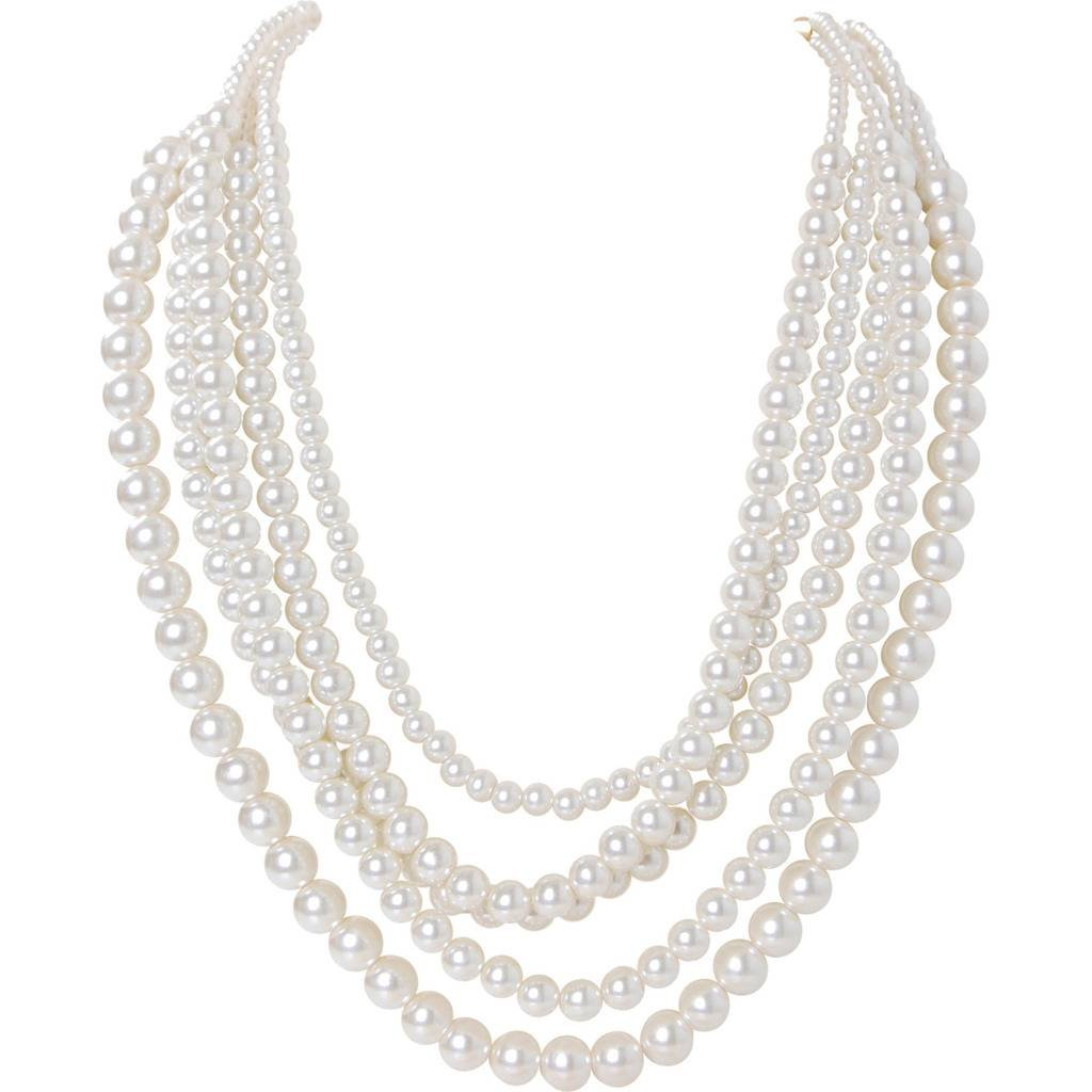 Humble Chic Simulated Pearl Necklace - Long Multi-Layer Strand Faux Round Bead Statement Bib, White, Gold-Tone
