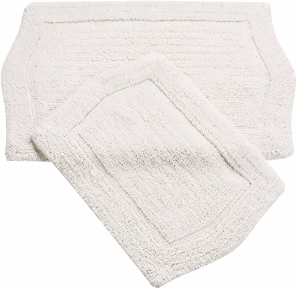Amazon Com Home Weavers Waterford Collection Absorbent Cotton Soft Bathroom 2 Piece Rug Set Machine Wash Dry 17 X24 21 X34 White Kitchen Dining