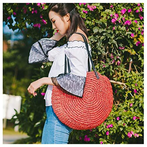 - Viet's Hand Round Straw Beach Bag Vintage Handmade Woven Shoulder Bag Raffia circle Rattan bags Bohemian Summer Vacation Casual Bags L27 - Red