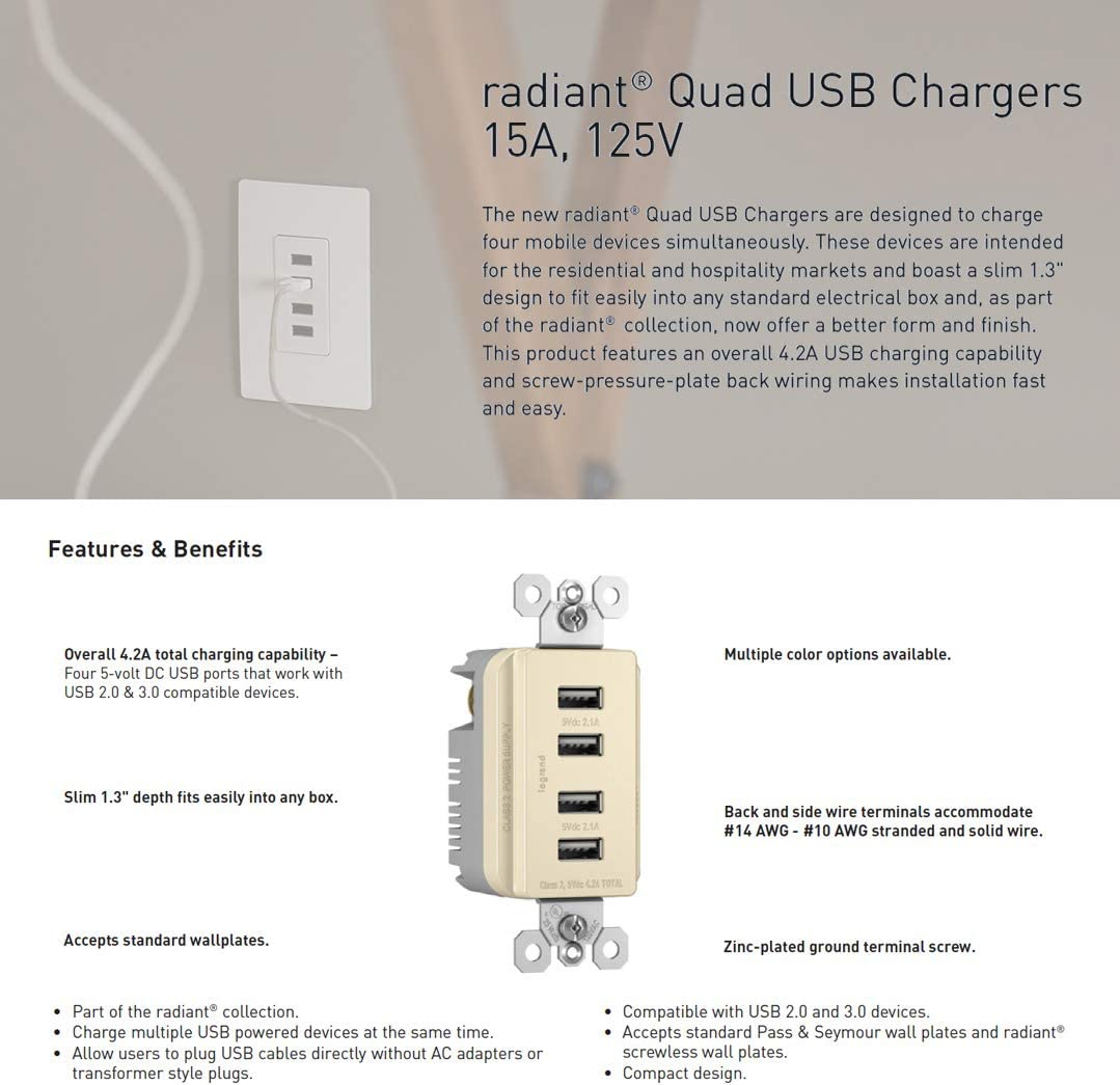 Black 4.2 Amp Total Charging Power Legrand Pass /& Seymour radiant TM8USB4BKCC6 Quad USB Charging Outlet