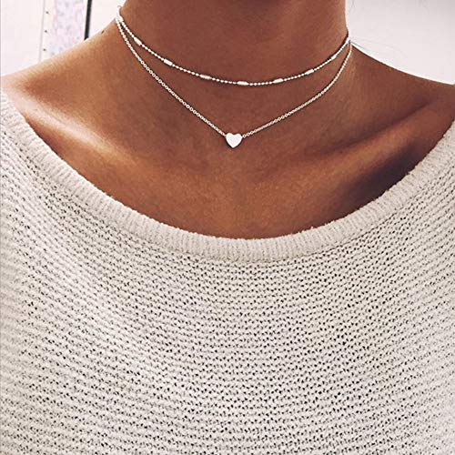 NOMSOCR Fashion Simple Heart Shape Alloy Choker Necklace Chain Jewelry for Women Girls (Silver) ()