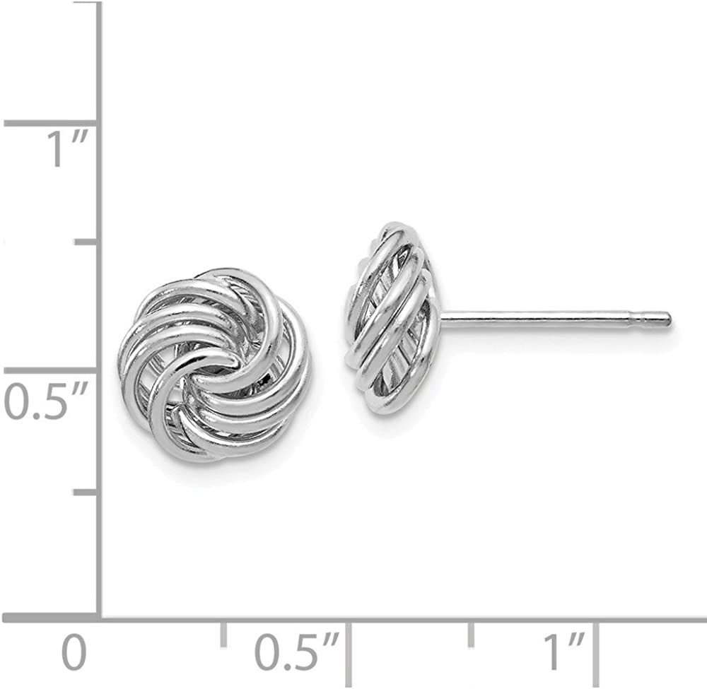 Leslies Real 14kt White Gold Polished Love Knot Post Earrings