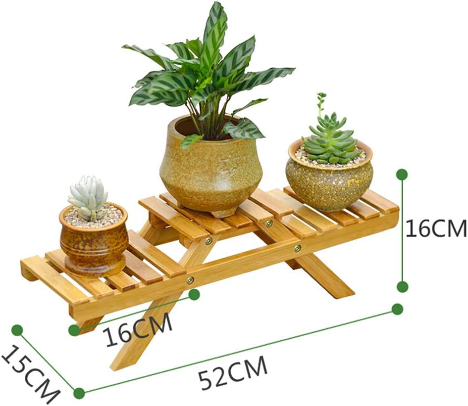 Takefuns 2 Tier Wooden Flower Stand Plant Display Shelf Multi-Layer Wood Flower Pot Decoration Rack Suitable for Outdoor Patio Garden Indoor Balcony Wood Plant Display Shelves