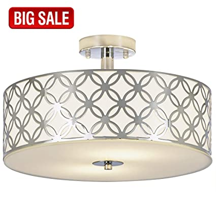 SOTTAE Luxurious Living Room Bedroom Ceiling lamp Creamy White Glass  Diffuser Chrome Finish Flush Mount Ceiling Light, Ceiling Light Fixture In  13 ...