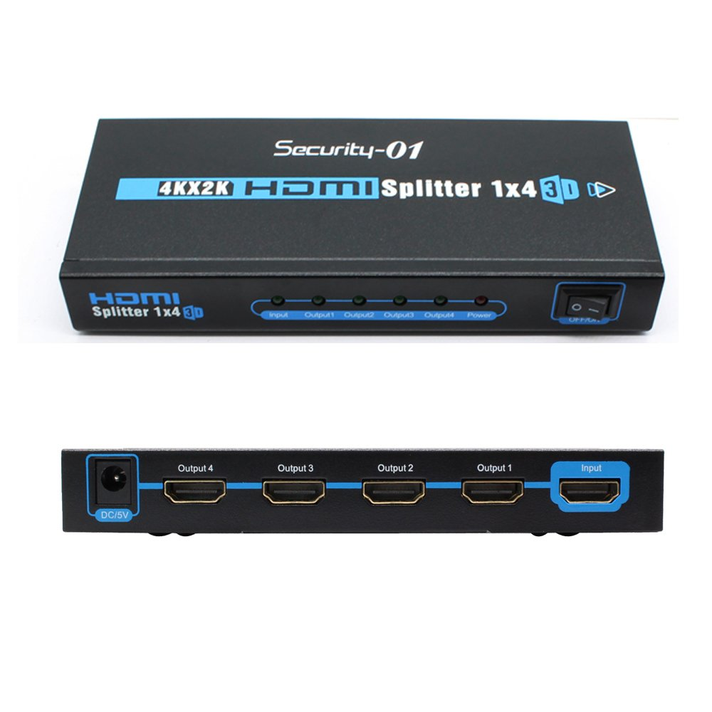 1 to 4 Port HDMI Splitter Amplifier Support 4K x 2K / 1080P / 3D 1.4 Version (One in Four out)