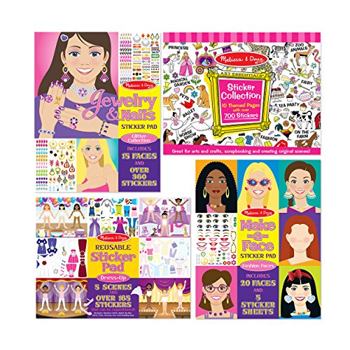 Melissa & Doug Sticker Pads Set: Jewelry and Nails, Dress-Up, Make-a-Face, Favorite Themes - 1225+ Stickers by Melissa & Doug