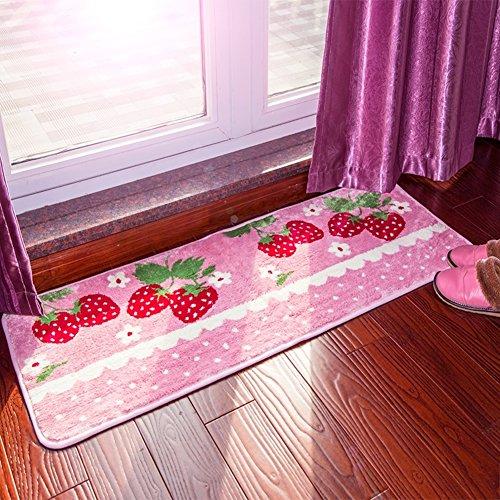ng Bathroom Mats, Doormat Strawberry Mat with Soft Fiber Water-Absorbing Mat Foot Pad Bedside Mat-A 18x47inch ()