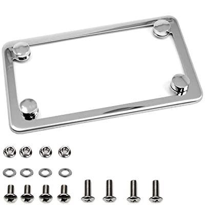 LFPartS Motorcycle Slim Style Polished Stainless Steel License Plate Frame: Automotive