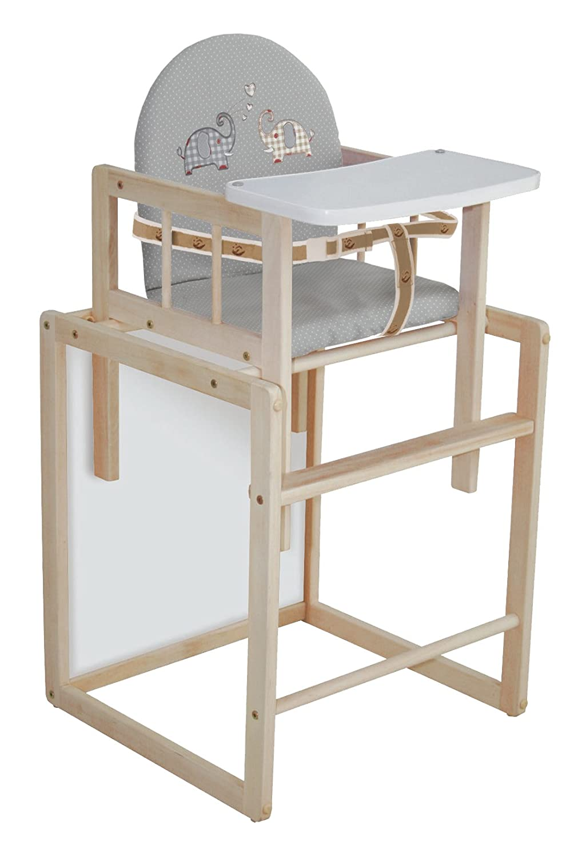 roba Kombi-Hochstuhl, Hochstuhl mit Essbrett wandelbar zu Tisch & Stuhl, Kinderhochstuhl Holz natur, Sitz gepolstert 'Jumbotwins' 7512R V145