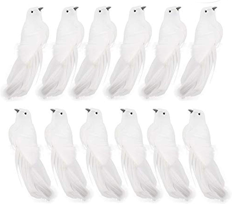 LAMF - Juego de 12 palomas artificiales con plumas, diseño de pájaros blancos y adornos navideños para decoración de bodas y fiestas