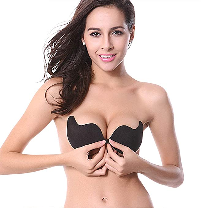 83e258dc99a22 ONine Strapless Adhesive Bra Backless Sticky Bra Invisible Push Up Bra for Large  Bust (Black