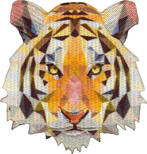 Geometric Tiger - Cut Out Embroidered Iron On or Sew On Patch