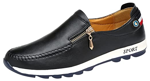 QZYYU-A1702 Mens Comfy Flexible Lightweight Slip On Flat Leather Moccasins Antiskidding Loafers Square Toe Breathable Zipper Sport-inspiring Style Charming